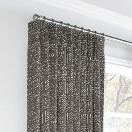 Charcoal Woven Tribal Euro Pleated Curtains Close Up
