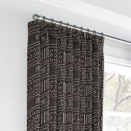 Black Woven Tribal Euro Pleated Curtains Close Up