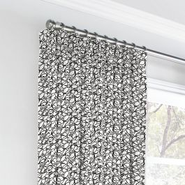 Black & White Abstract Hexagon Euro Pleated Curtains Close Up