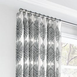 Black & White Spiky Oval Euro Pleated Curtains Close Up