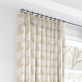 Natural & White Bird Euro Pleated Curtains Close Up