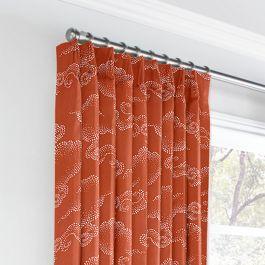 Burnt Orange Cloud Euro Pleated Curtains Close Up
