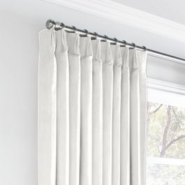 Ivory Linen Euro Pleated Curtains Close Up