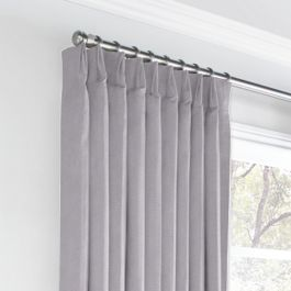 Purple Linen Euro Pleated Curtains Close Up