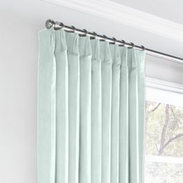 Pale Green Linen Euro Pleated Curtains Close Up