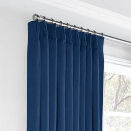Dark Navy Blue Linen Euro Pleated Curtains Close Up