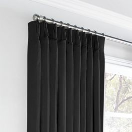 Carbon Black Linen Euro Pleated Curtains Close Up