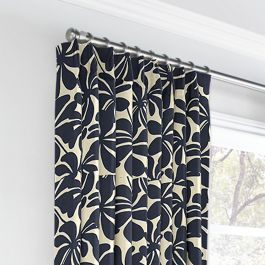 Navy Graphic Floral Euro Pleated Curtains Close Up