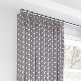 White & Gray Polka Dot Euro Pleated Curtains Close Up
