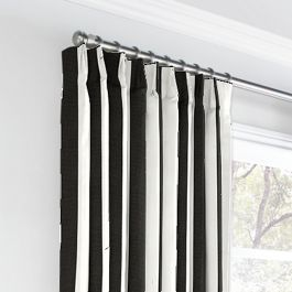 Black & White Awning Stripe Euro Pleated Curtains Close Up