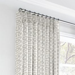 Light Gray Trellis Euro Pleated Curtains Close Up