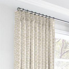 Light Tan Trellis Euro Pleated Curtains Close Up
