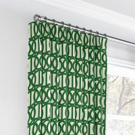 Emerald Green Trellis Euro Pleated Curtains Close Up