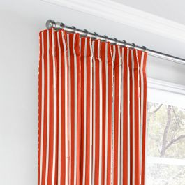 Flame Red Thin Stripe Euro Pleated Curtains Close Up