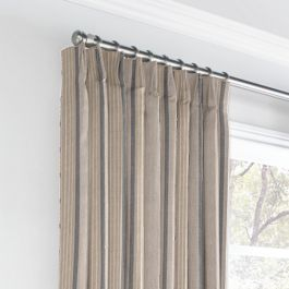 Tan & Gray Stripe Euro Pleated Curtains Close Up