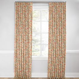 Multicolor Red Paisley Euro Pleated Curtains Close Up