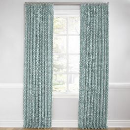 Modern Teal Trellis Euro Pleated Curtains Close Up