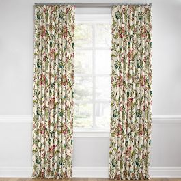 Teal & Pink Floral Euro Pleated Curtains Close Up