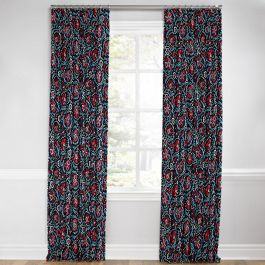 Red & Navy Blue Suzani Euro Pleated Curtains Close Up