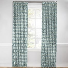 Aqua Moroccan Mosaic Euro Pleated Curtains Close Up