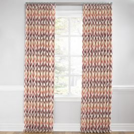 Orange & Pink Flame Stitch Euro Pleated Curtains Close Up
