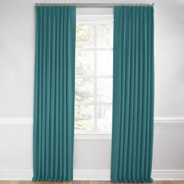 Dark Teal Linen Euro Pleated Curtains Close Up