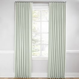 Pale Seafoam Slubby Linen Euro Pleated Curtains Close Up