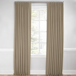 Light Taupe Linen Euro Pleated Curtains Close Up