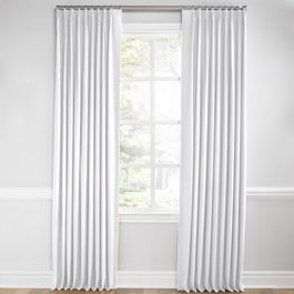 Bright White Slubby Linen Euro Pleated Curtains Close Up