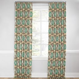 Handwoven Tan & Teal Ikat Euro Pleated Curtains Close Up