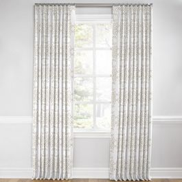 Light Tan & White Scroll Euro Pleated Curtains Close Up
