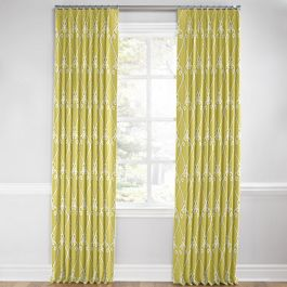 Embroidered Green Scroll Euro Pleated Curtains Close Up