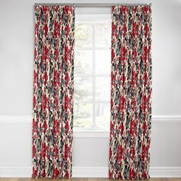 Gray & Red Watercolor Euro Pleated Curtains Close Up