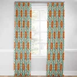 Turquoise & Red Ikat Medallion Euro Pleated Curtains Close Up