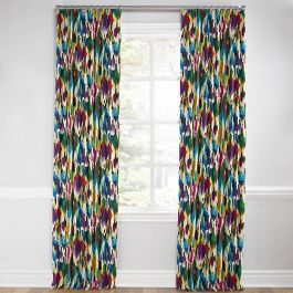 Multicolor Watercolor Euro Pleated Curtains Close Up