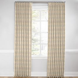 Beige Diamond Block Print Euro Pleated Curtains Close Up