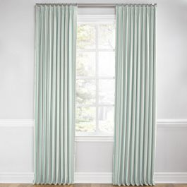 Handwoven Aqua Stripe Euro Pleated Curtains Close Up