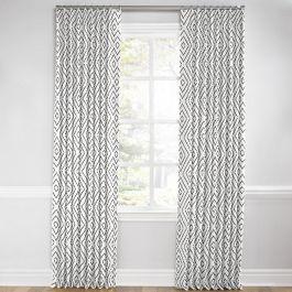 White & Gray Diamond Euro Pleated Curtains Close Up