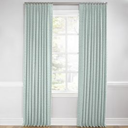 Aqua Geometric Maze Euro Pleated Curtains Close Up
