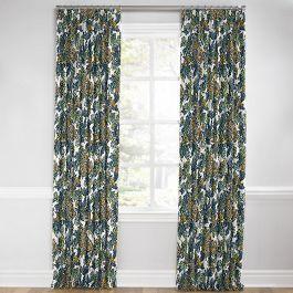 Aqua Chinoiserie Dragon Euro Pleated Curtains Close Up