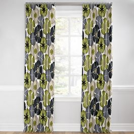 Modern Gray & Green Floral Euro Pleated Curtains Close Up