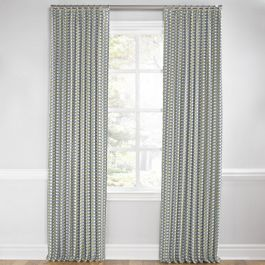 Yellow & Blue Mod Geometric Euro Pleated Curtains Close Up
