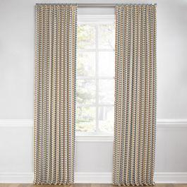 Mod Gray & Orange Geometric Euro Pleated Curtains Close Up