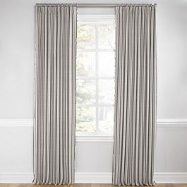 Rustic Gray Stripe Euro Pleated Curtains Close Up