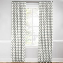 Light Gray Chevron Euro Pleated Curtains Close Up