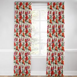 Bold Green & Red Floral Euro Pleated Curtains Close Up
