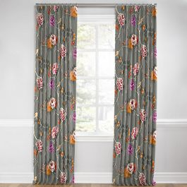 Painterly Pink & Gray Floral Euro Pleated Curtains Close Up