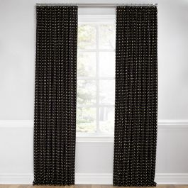 Gold Studded Black Euro Pleated Curtains Close Up