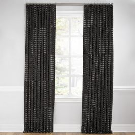 Silver Studded Charcoal Euro Pleated Curtains Close Up