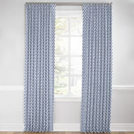 Nautical Blue Scallop Euro Pleated Curtains Close Up